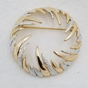 Sarah Coventry Silver and Gold Tone Brooch Pin